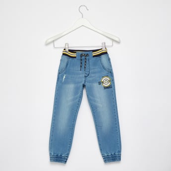 Embroidered Denim Jog Pants with Pockets and Drawstring