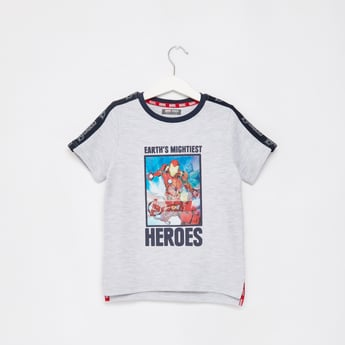 Ironman Print T-shirt with Round Neck and Short Sleeves