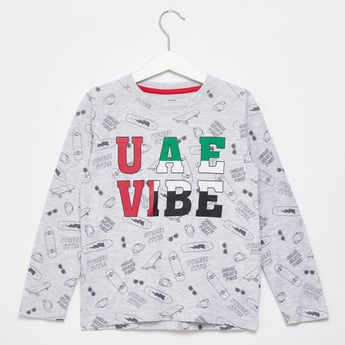 All-Over UAE Graphic Print T-shirt with Round Neck and Long Sleeves