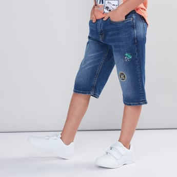 Embroidered Applique Detail Denim Shorts with Button Closure