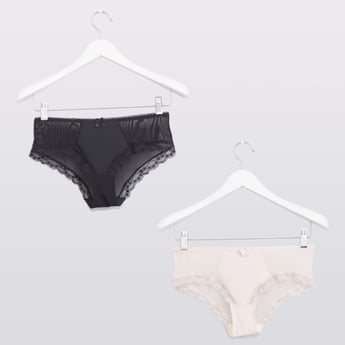 Set of 2 - Hipster Briefs with Lace Detail