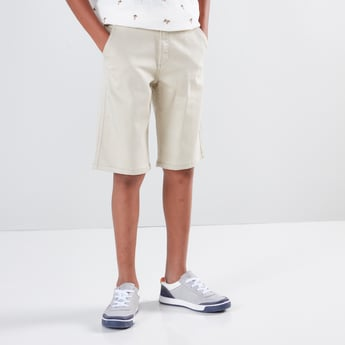 Solid 5 Pockets Shorts with Belt Loops