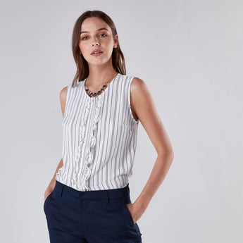 Striped Shirt with Round Neck and Front Ruffel Detailing
