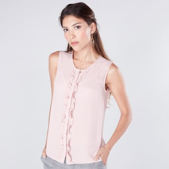 Solid Sleeveless Shirt with Ruffle Detail and Concealed Placket