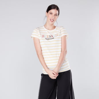 Maternity Striped T-shirt with Round Neck and Short Sleeves