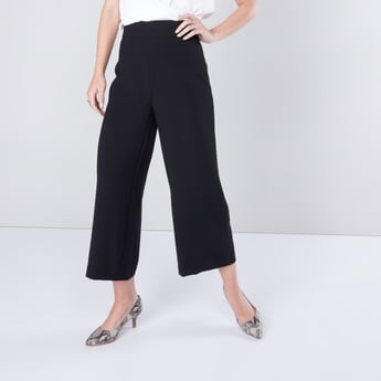 Wide Fit Solid Culottes with Elasticised Waistband