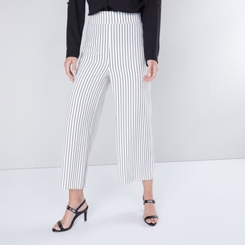 Wide Fit Striped Culottes with Elasticised Waistband