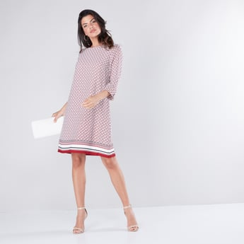 Printed Midi Shift Dress with 3/4 Sleeves