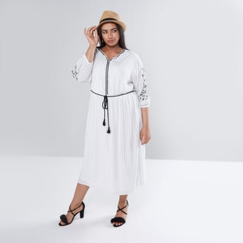 Striped Maxi Dress with Embroidered 3/4 Sleeves and Tie Ups