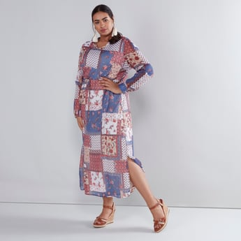 Printed Maxi Dress with Long Sleeves and Tie Up Detail