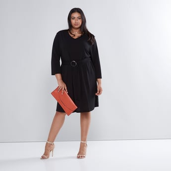 Ring Detail Midi Dress with V-neck and 3/4 Sleeves