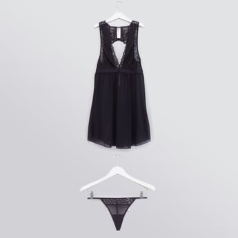 Halter-Neck Lace Insert Babydoll Dress with Thong