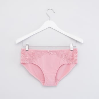 Solid Briefs with Lace Detail