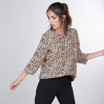 Animal Printed Top with 3/4 Sleeves and Button Detail
