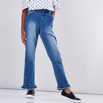 Pearl Detail Jeans with Frayed Grazers