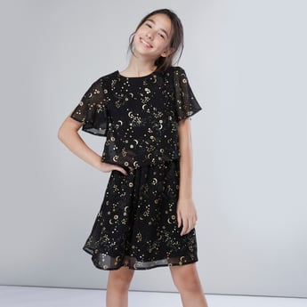 Foil Print Round Neck Dress with Short Sleeves