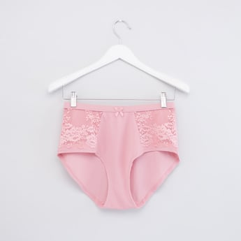 Lace Panelled Full Briefs with Bow Accent