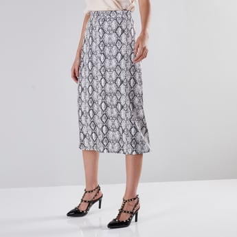 Printed Midi Pencil Skirt with Button Detail