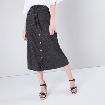 Printed Midi Skirt with Button Detail and Tie Ups