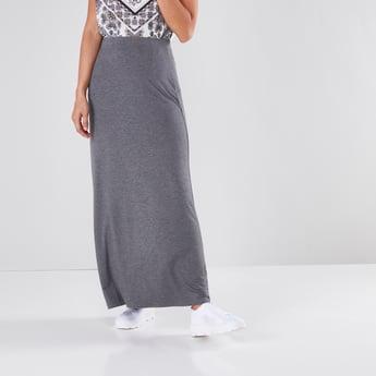 Textured Maxi Skirt with Elasticated Waistband