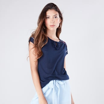 Floral Embroidered Round Neck Top with Short Sleeves and Tie Up Detail