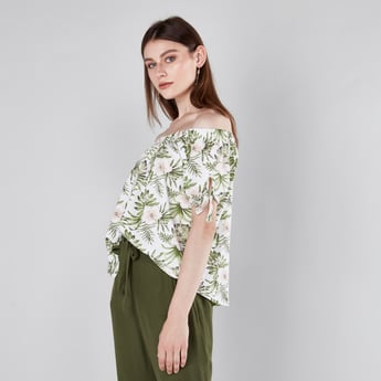 Tropical Printed Off Shoulder Top with Tie-Up Detail