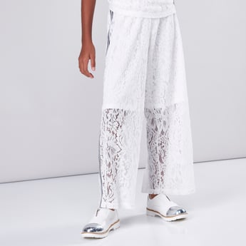 Lace and Tape Detail Palazzo Pants
