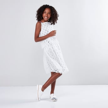 فستان طبقات شبكية بطبعات منقطّة