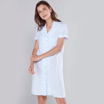 Polka-Dot Print Sleep Dress with Open Collar and Short Sleeves