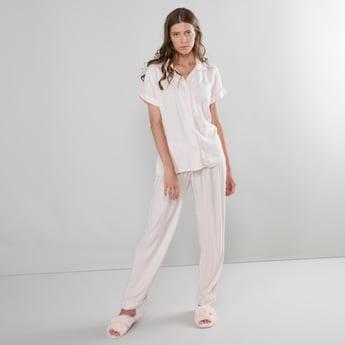 Striped Short Sleeves Notched Collar Shirt and Pyjama Set