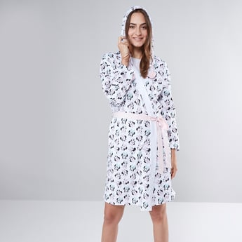 Minnie Mouse Printed Robe with Tie Ups and Hood