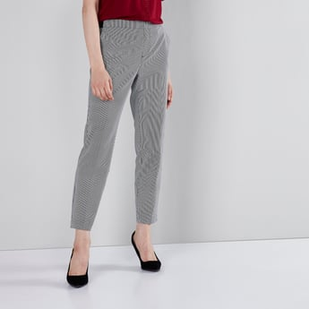 Full Length Striped Trouser with Pocket Detail and Elasticated Closure