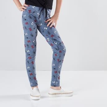 Full Length Minnie Mouse Printed Leggings with Elasticised Waistband