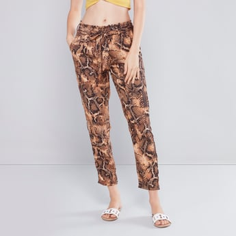 Printed Pants with Paperbag Waist and Pocket Detail