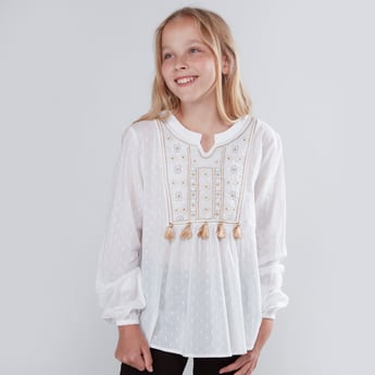 Embroidered Tunic with Long Sleeves and Tassel Detail