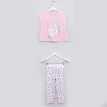 Printed Cap Sleeves Top and Pyjama Set