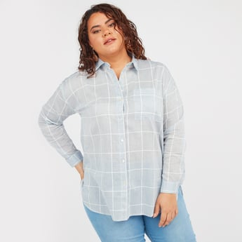 Checked Tunic with Long Sleeves and Chest Pocket
