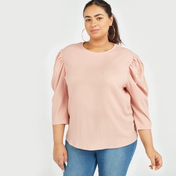 Embellished Top with Round Neck and Puffed Sleeves