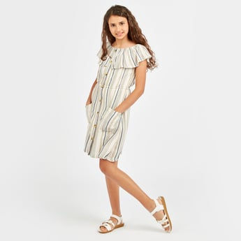 Striped Off-Shoulder Dress with Pocket Detail