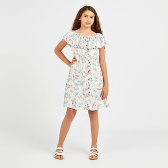 Butterfly Print Off Shoulder Dress with Pocket Detail