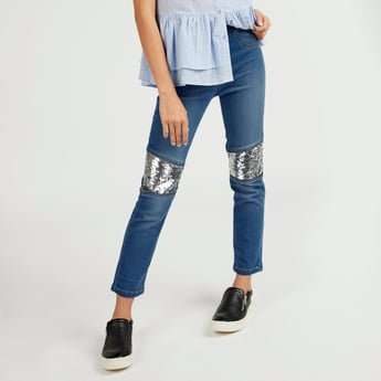 Sequin Detail Jeans with Pockets and Elasticised Waistband