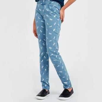 All Over Unicorn Print Jeggings with Elasticised Waistband