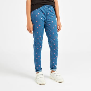 Star Print Jeggings and Elasticised Waistband