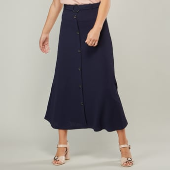 Button Detail A-line Midi Skirt