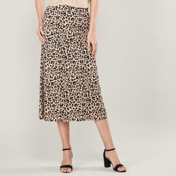 Leopard Print Midi Skirt with Elasticised Waistband