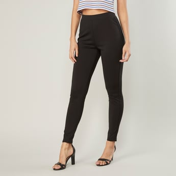 Plain High-Rise Ponte Leggings with Elasticised Waistband