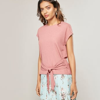 Solid Top with Cap Sleeves and Knot Detail