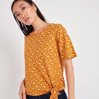 Printed Boxy Top with Round Neck and Tie Ups