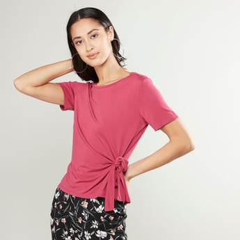 Plain Top with Round Neck and Knot Detail