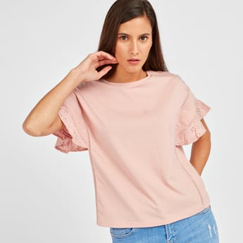 Solid Round Neck Top with Extended Flared Sleeves